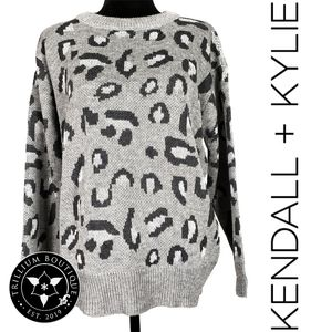 Kendall + Kylie Animal Print Sweater Grey NWT